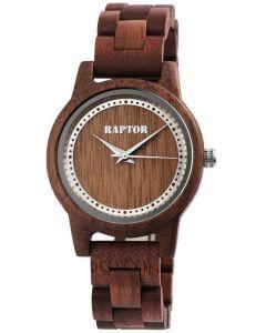 Holzuhr Armbanduhr Unisex Dunkelbraun Raptor Uhr Datum