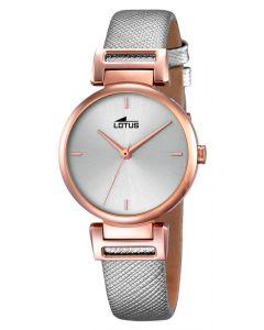 Lotus Damenuhr Lederarmband grau kupfer 18229/1 Armbanduhr