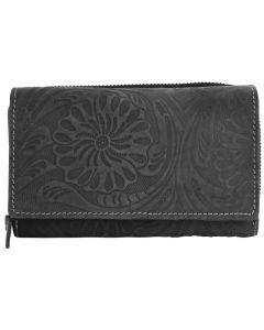 Akzent Wild Echt Leder Geldbörse mit Blumenprint grau Damengeldbörse 3000077-001