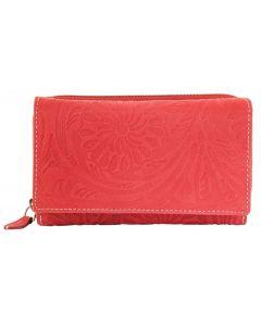 Akzent Wild Echt Leder Geldbörse mit Blumenprint rot Damengeldbörse 3000077-002