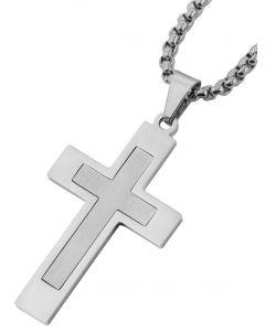 Edelstahl Halskette Gläsender Stein Anhänger  70 cm Kette silber-farbig
