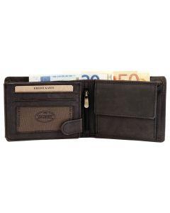 Akzent Geldbörse Leder Herren-Portemonnaie schwarz Querformat 12 x 9 cm