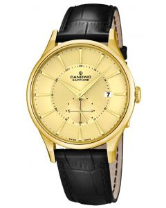 Candino Herren Armbanduhr C4559/2 PVD gold Lederarmband schwarz